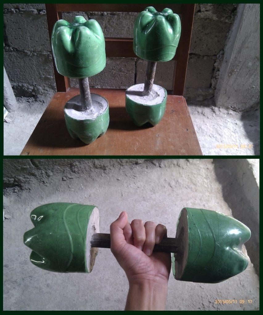 Как сделать гантель из пластиковых бутылок